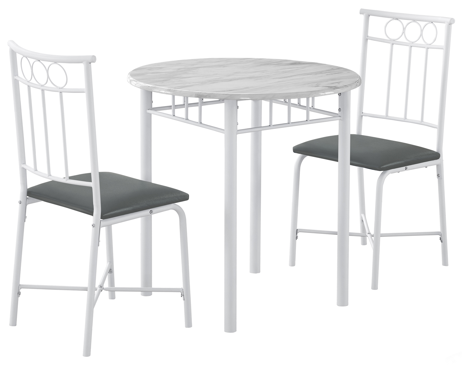 Dining Set - 3Pcs Set / White Marble / White Metal