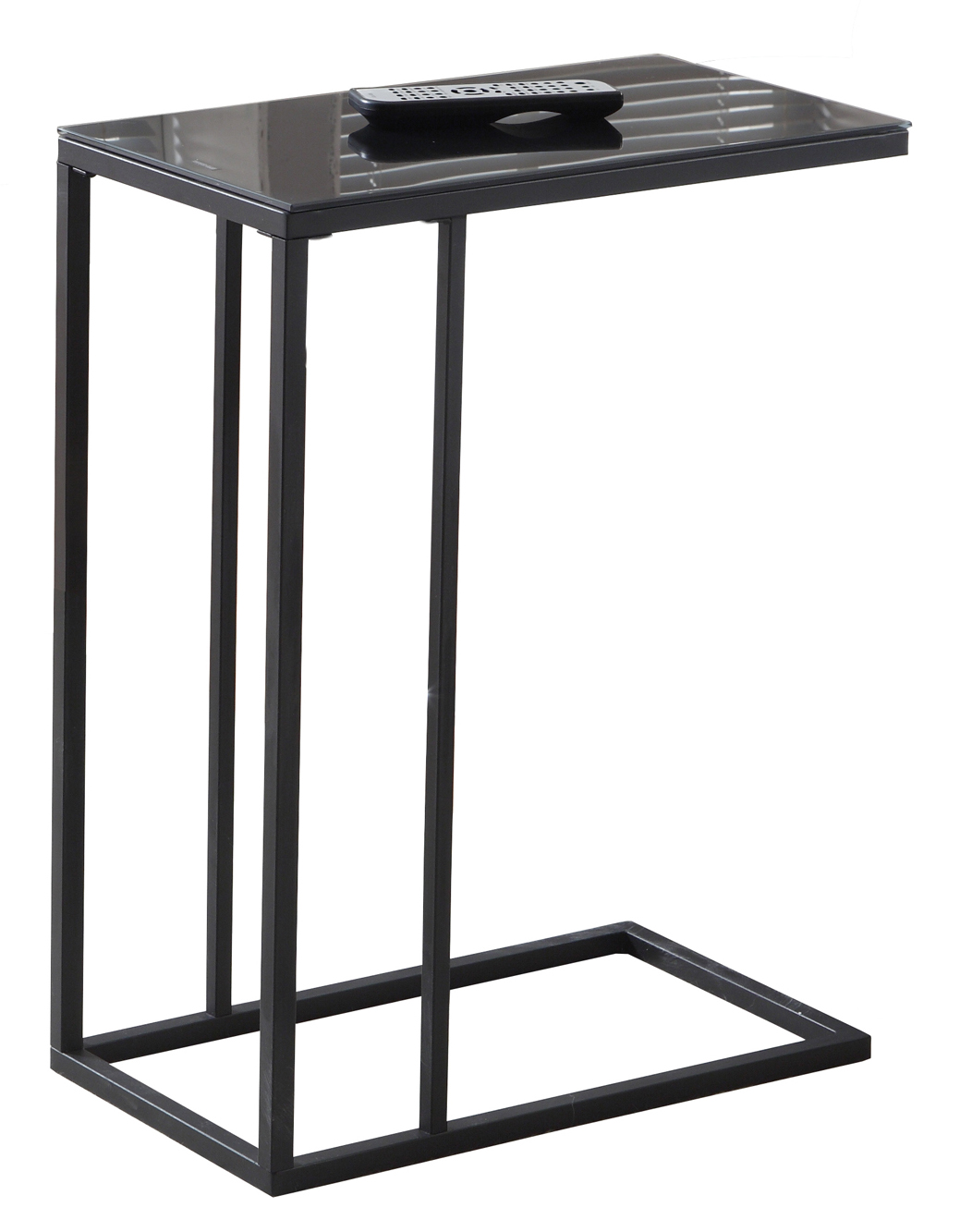 "24"" Accent Table with Tempered Glass Top, Black"