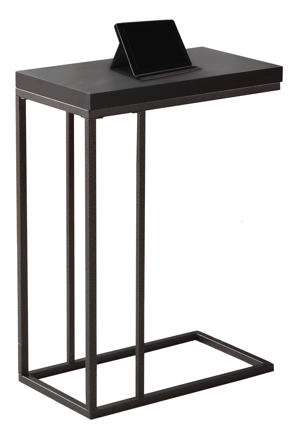 "25"" Accent Table, Bronze Metal Base and Cappuccino Top"