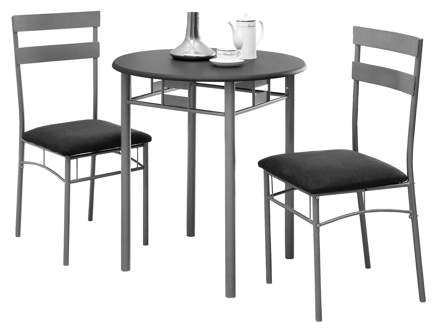3 Pieces Bistro Set, Black and Silver Metal