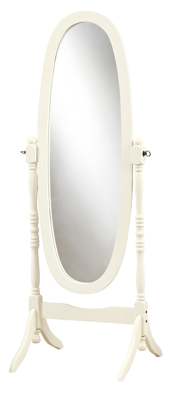 "59"" Cheval Floor Mirror with Wood Frame, Antique White"