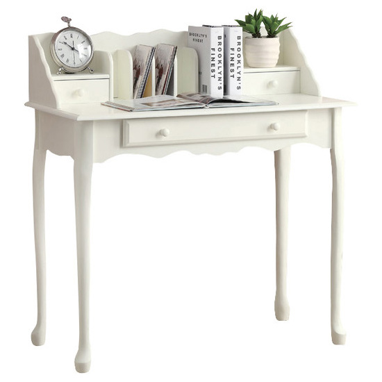 "36"" Traditional French Inspired Secretary Desk with Queen Ann Legs, Antique White"