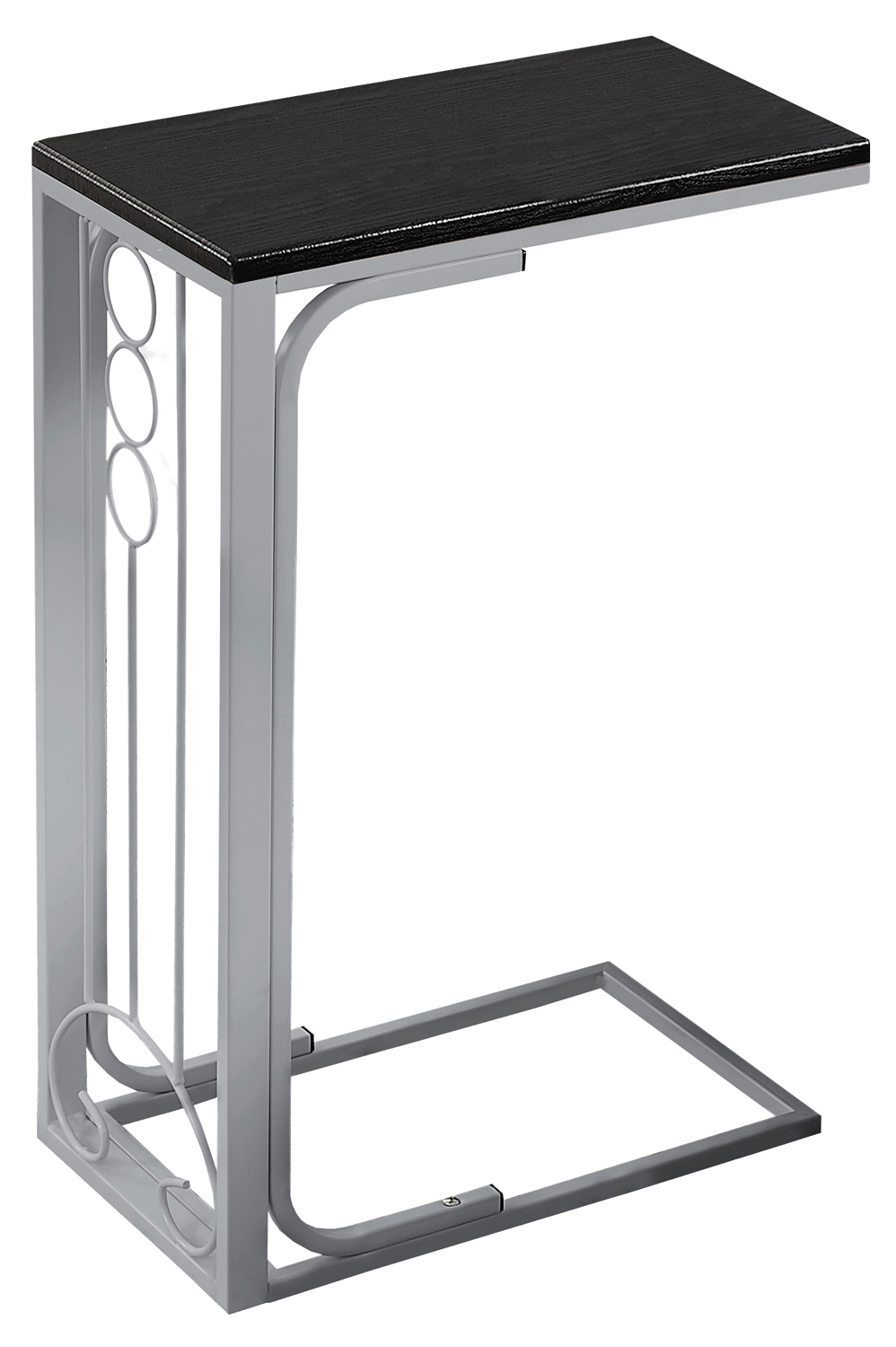 """16"""" Accent Table, Silver Base and Black Top"""
