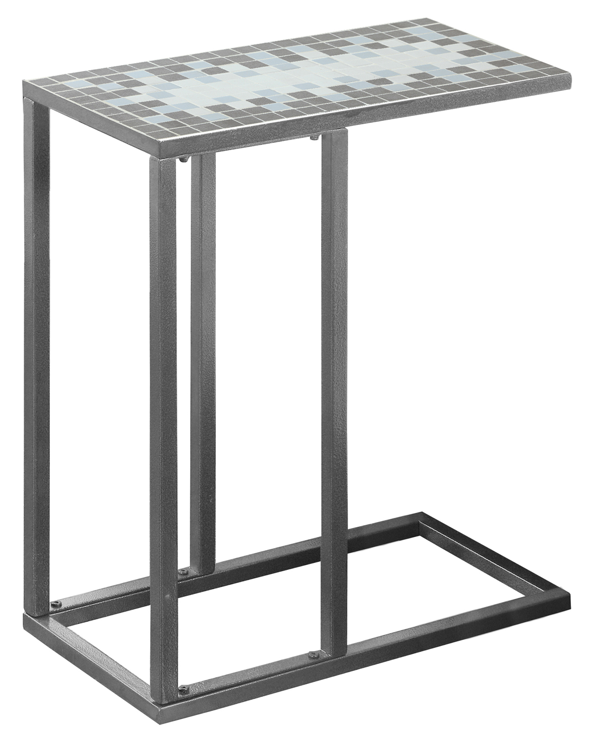 "20""L Accent Table with Hammered Silver Metal Frame And Grey/Blue Mosaic Tile Top"