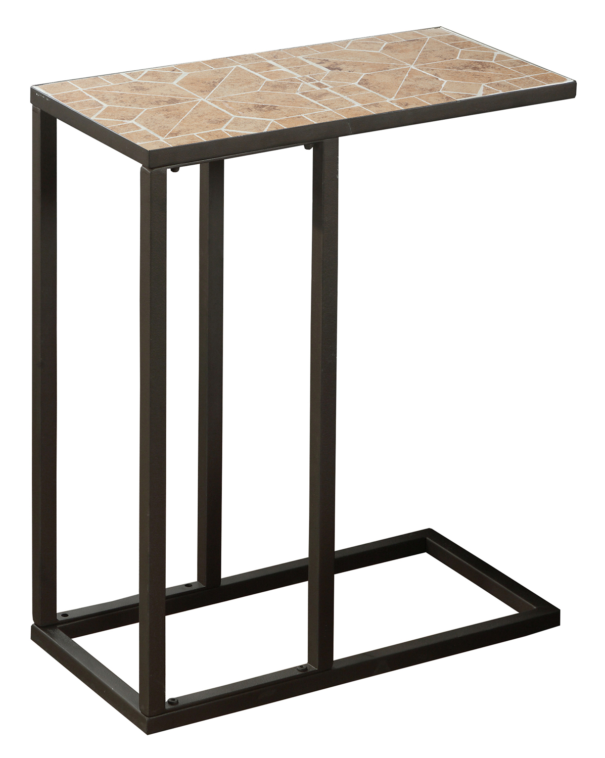 "20""L Accent Table with Hammered Brown Metal Frame And Terracotta Mosaic Tile Top"