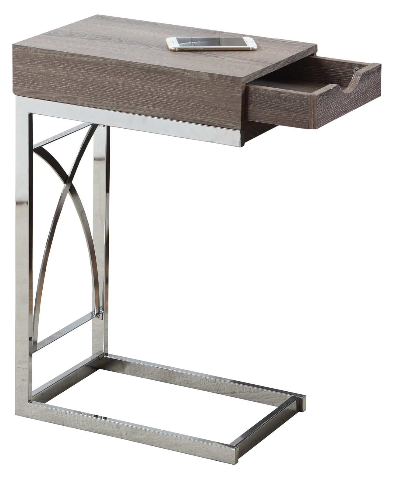 "24"" Accent Table With A Drawer, Chrome Metal Base and Dark Taupe Top"