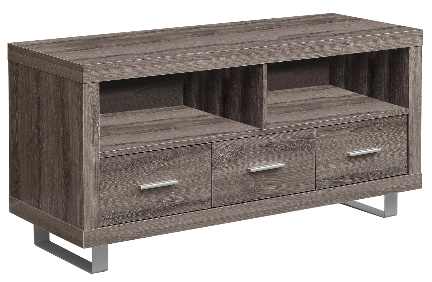 "48"" TV Stand, Dark Taupe With 3 Drawers"