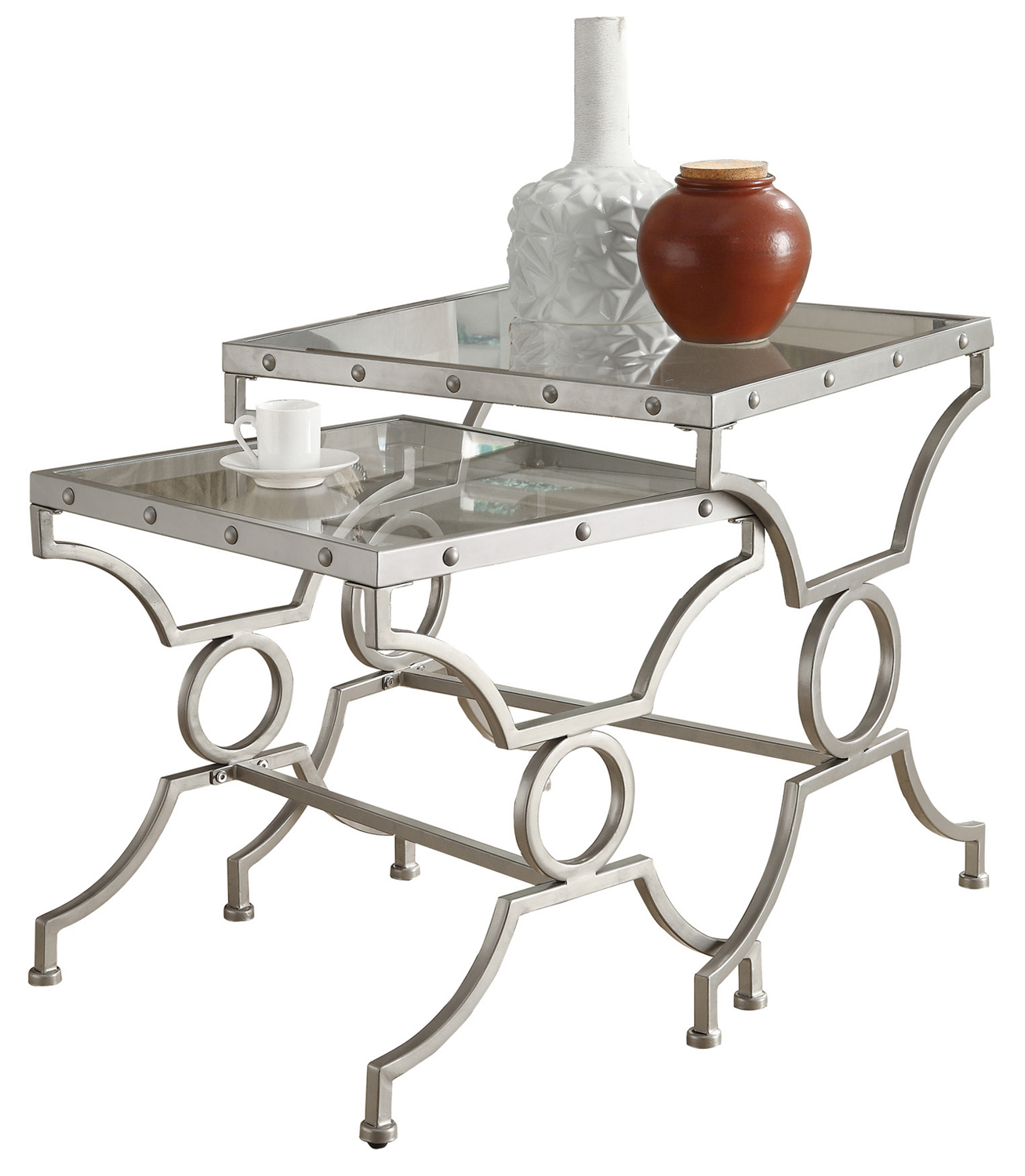 2 Pieces Nesting Table with Satin Silver Metal Base And Rectangle Tempered Glass Top