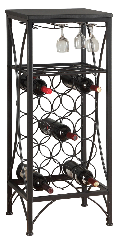 "40""H Metal Wine Bottle And Glass Rack, Black"
