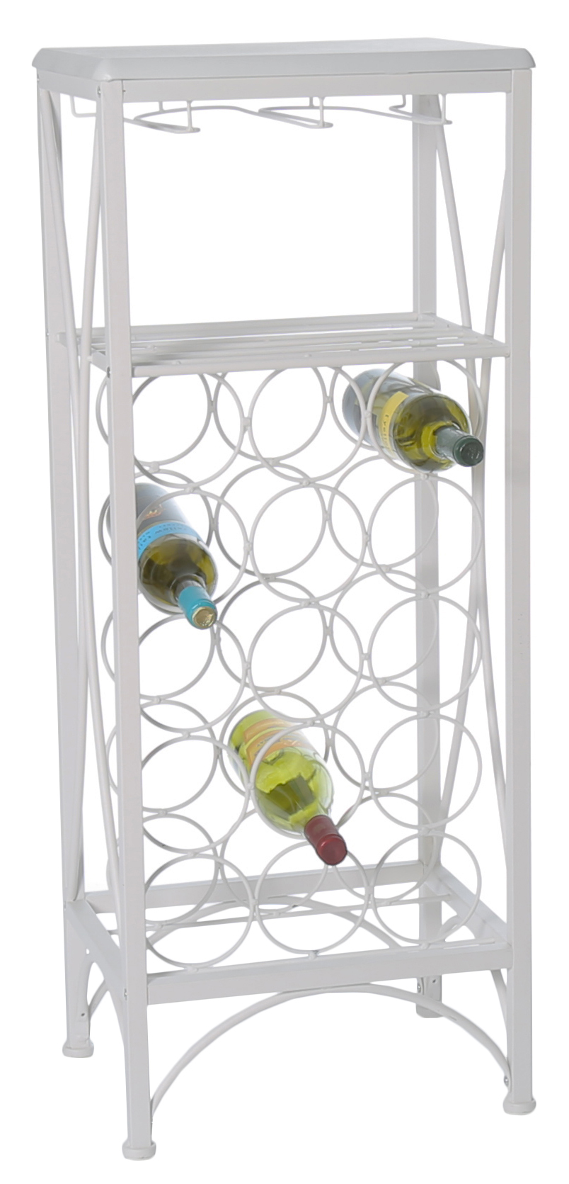"40""H Metal Wine Bottle And Glass Rack, White"