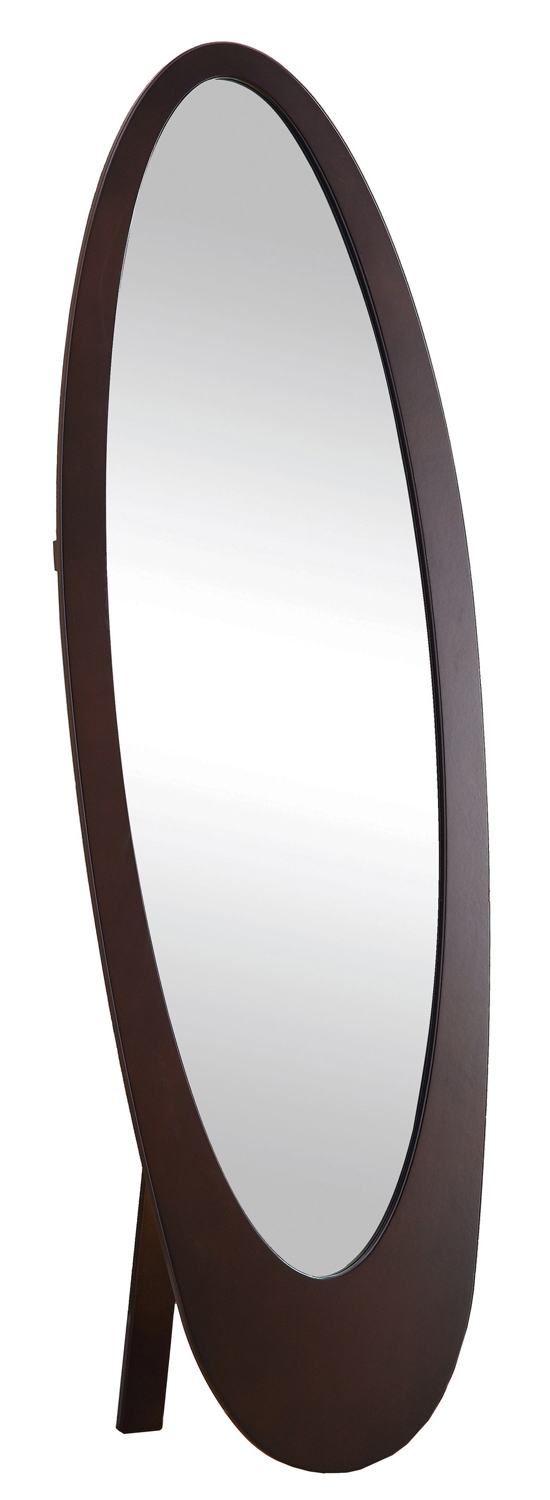 "59"" Contemporary Oval Shaped Cheval Mirror, Cappuccino"