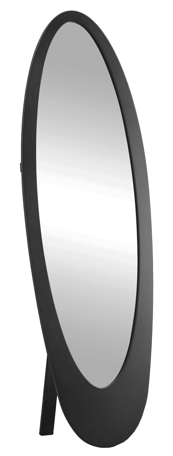 "59"" Contemporary Oval Shaped Cheval Mirror, Black"