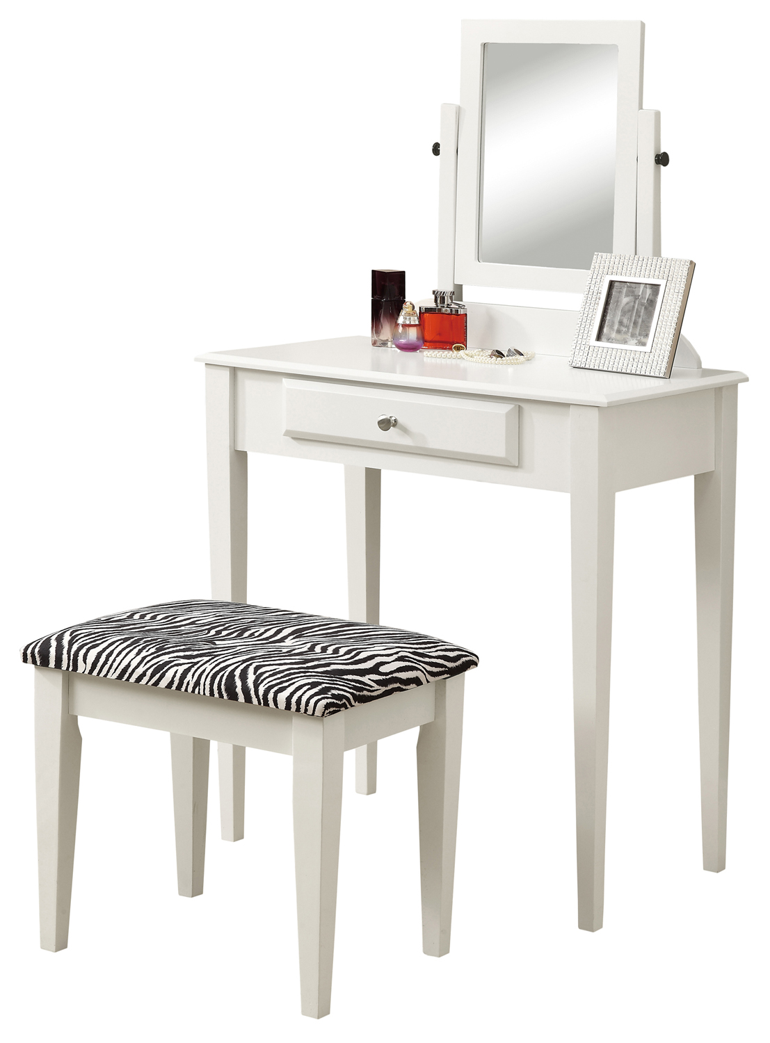 Vanity Set - 2 Pieces Set / White With A Zebra Fabric Stool