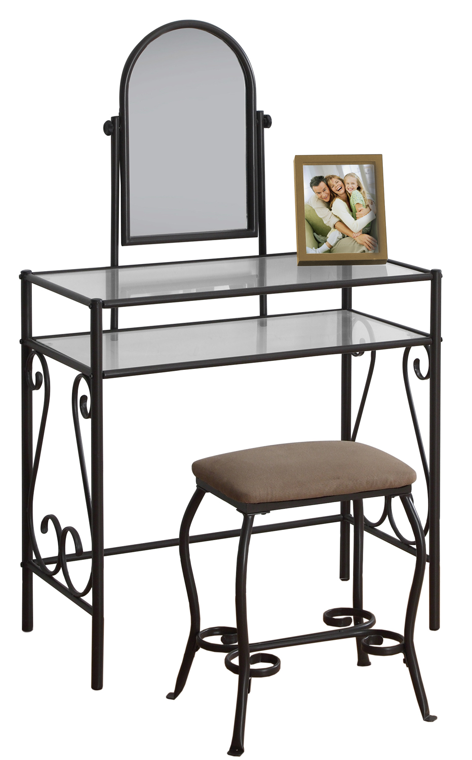 Vanity Set - 2Pcs Set / Brown Metal With Tempered Glass