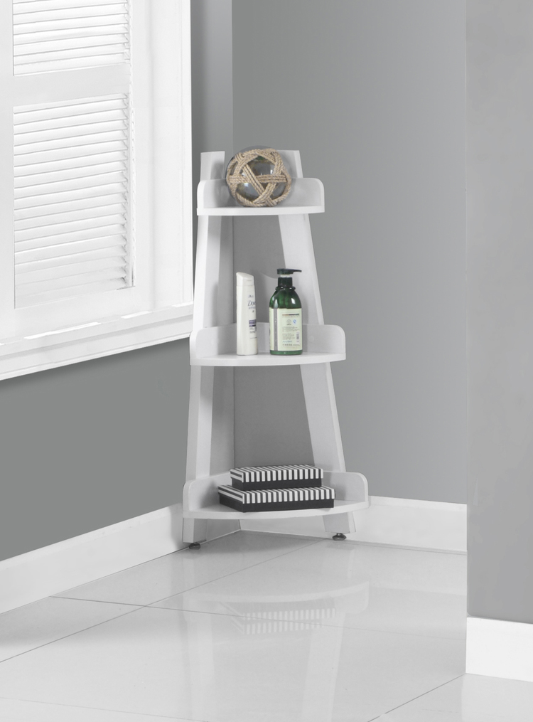 "Bathroom Accent - 34""H / White Corner Etagere"
