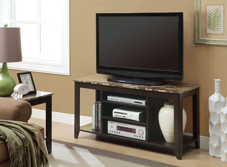 "48"" TV Stand, Cappuccino With Marble Top"