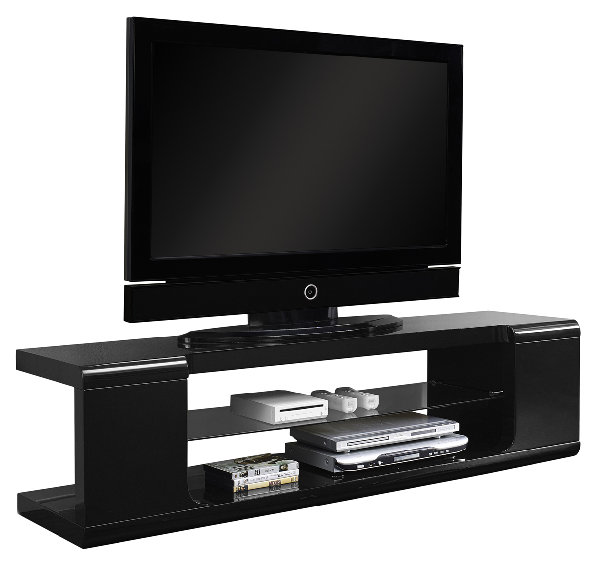 "60"" TV Stand, High Glossy Black With Tempered Glass"