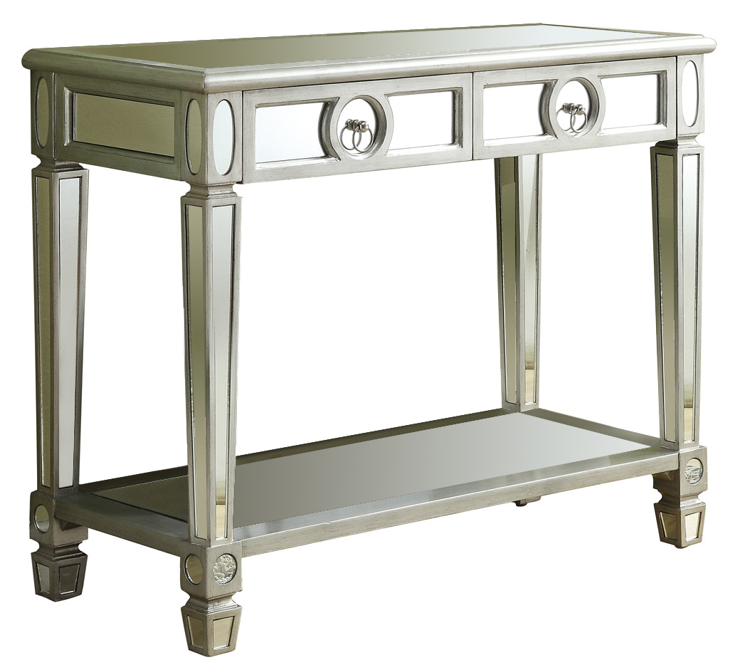 "38"" Mirrored Console Table with 2 Drawers, Brushed Silver"