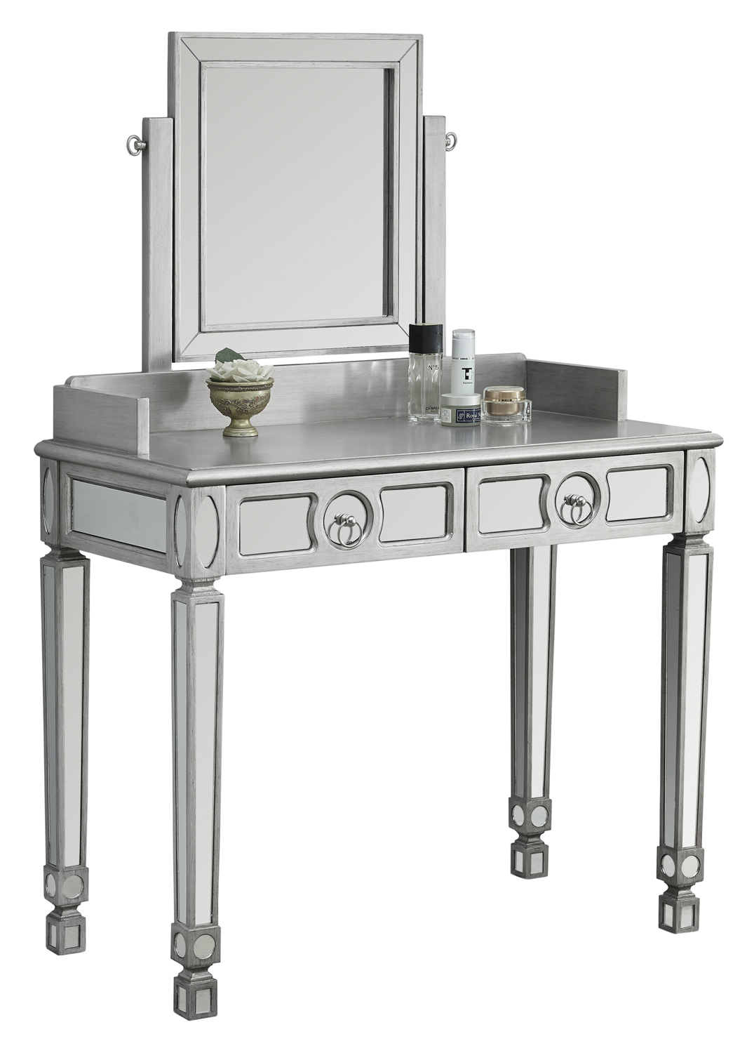 "Vanity - 36""L / Brushed Silver / Mirror With 2 Drawers"