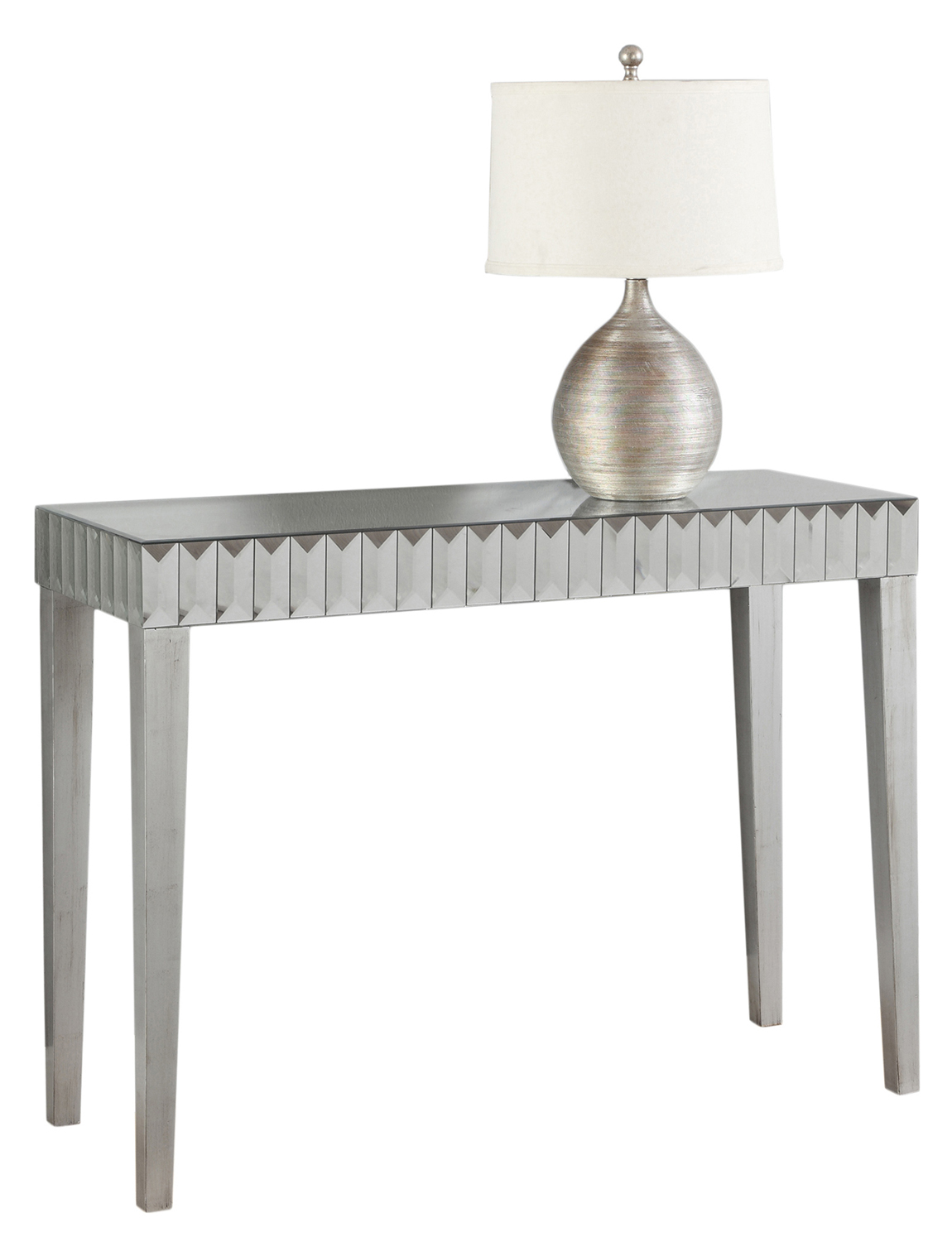 "42"" Mirrored Console Table, Brushed Silver"