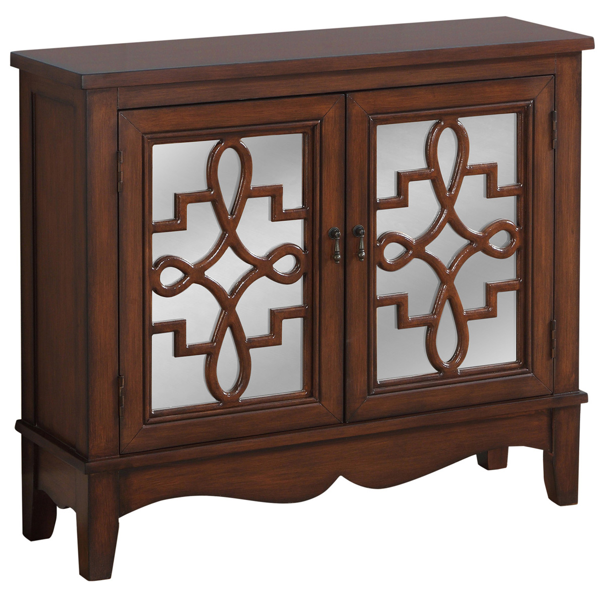 Traditional Style Accent Chest with Hidden Storage Shelf, Dark Walnut with Mirrored