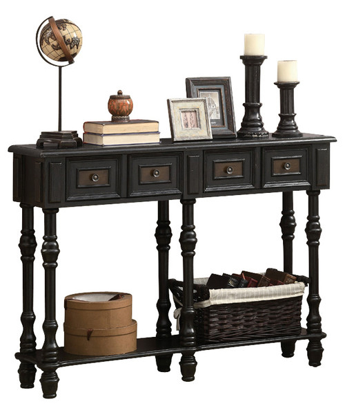 "48"" Traditional Console Table, Antique Black"