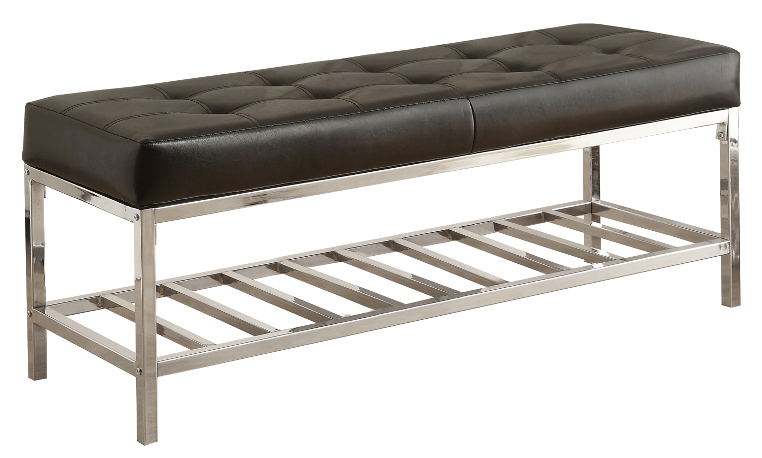 "48"" Sturdy Yet Comfortable Bench With Polished-Chrome Base And Black Leather-Look Fixed Cushion"