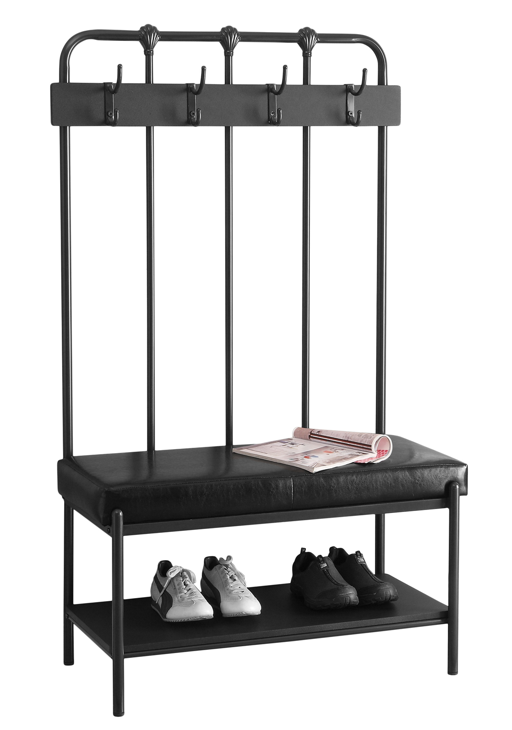 """60""""H Metal Hall Entry Bench, Charcoal Grey"""