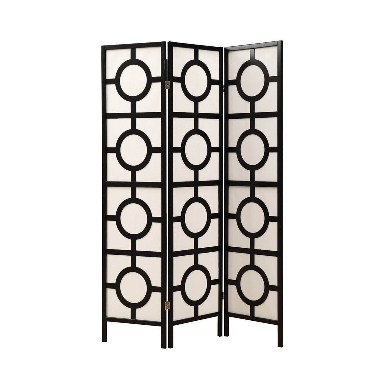 """Circle Design"" 3 Panel Folding Screen, Black Frame"