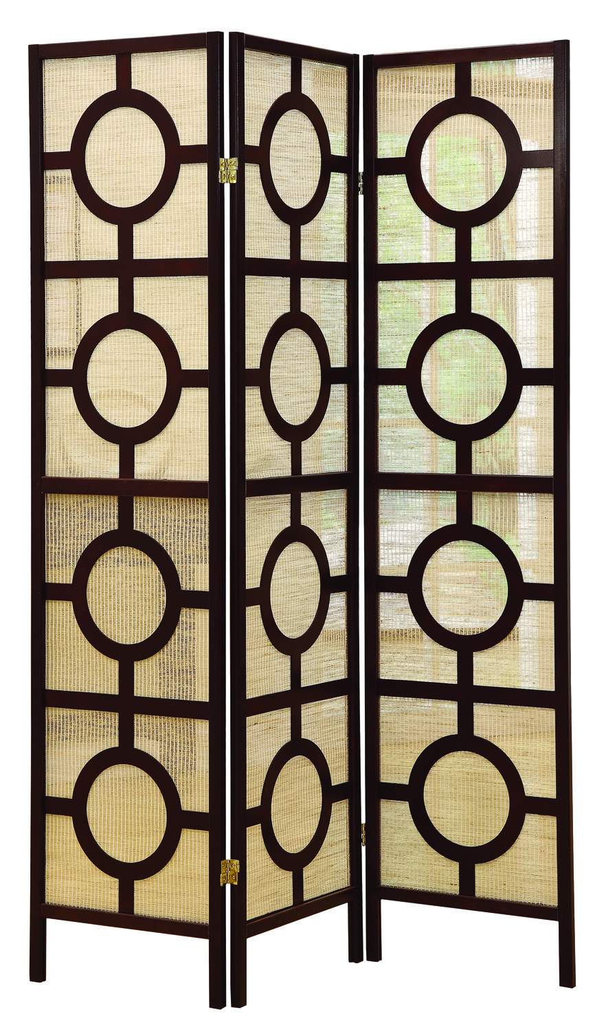 """Circle Design"" 3 Panel Folding Screen, Cappuccino"