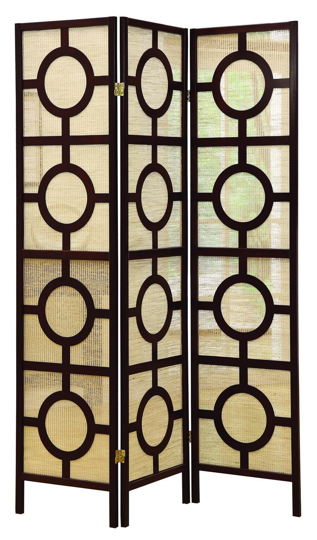 """Circle Design"" 3 Panel Folding Screen, Cappuccino"