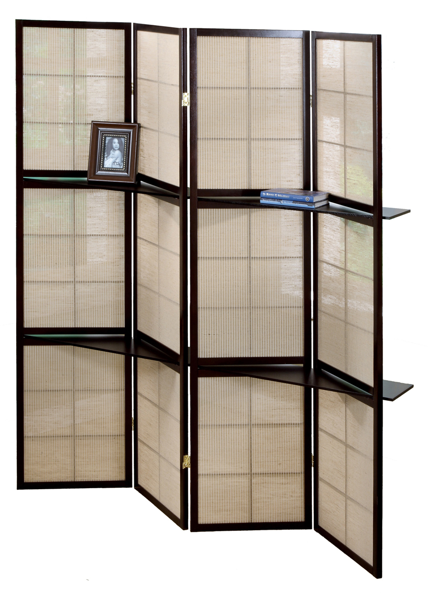 4 Panel Folding Screen with 2 Display Shelves, Cappuccino