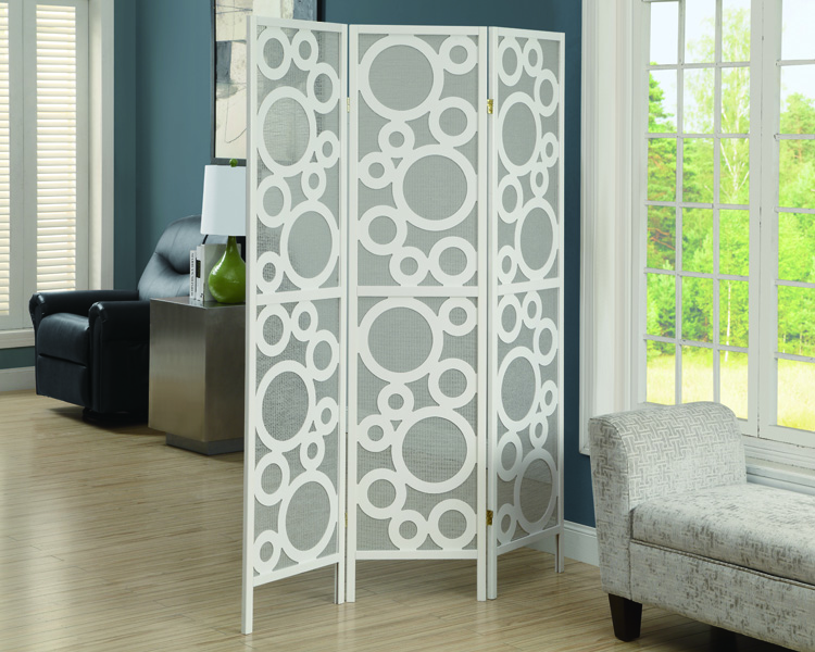"""Bubble Design"" 3 Panel Folding Screen, White Frame"