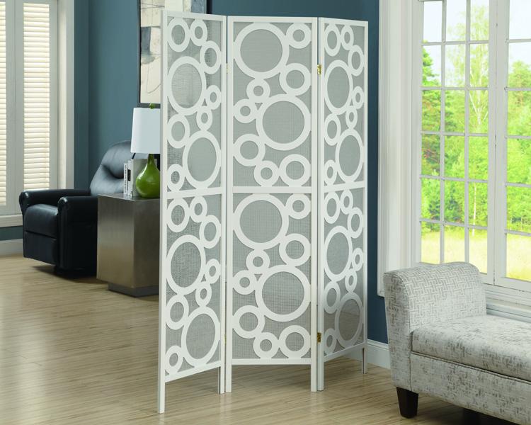 """Bubble Design"" 3 Panel Folding Screen, White Frame"