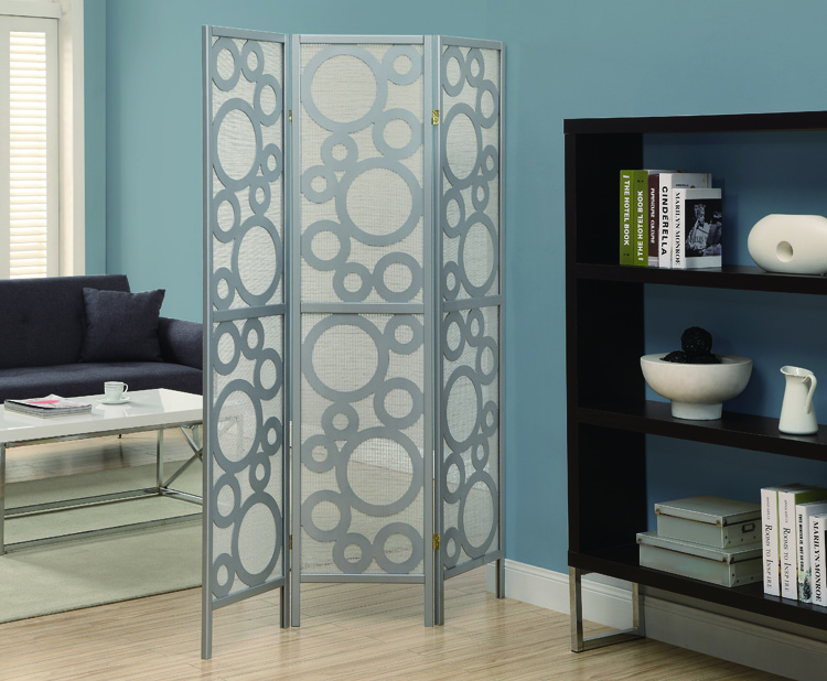 """Bubble Design"" 3 Panel Folding Screen, Silver"