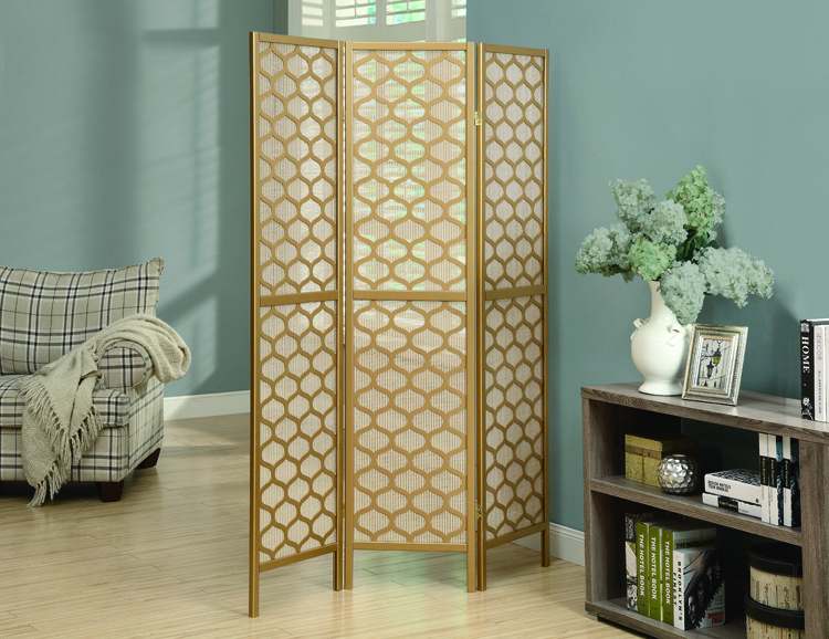 """Lantern Design "" 3 Panel Folding Screen, Gold Frame"