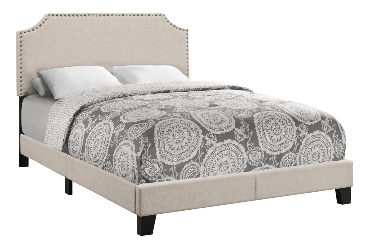 BED - FULL SIZE / BEIGE LINEN WITH ANTIQUE BRASS TRIM
