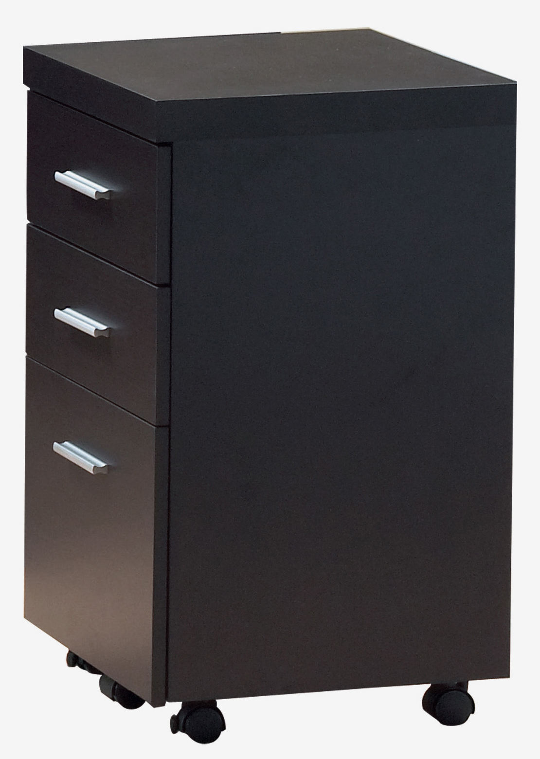 Hollow-Core Three Drawer File Cabinet with Castors, Cappuccino