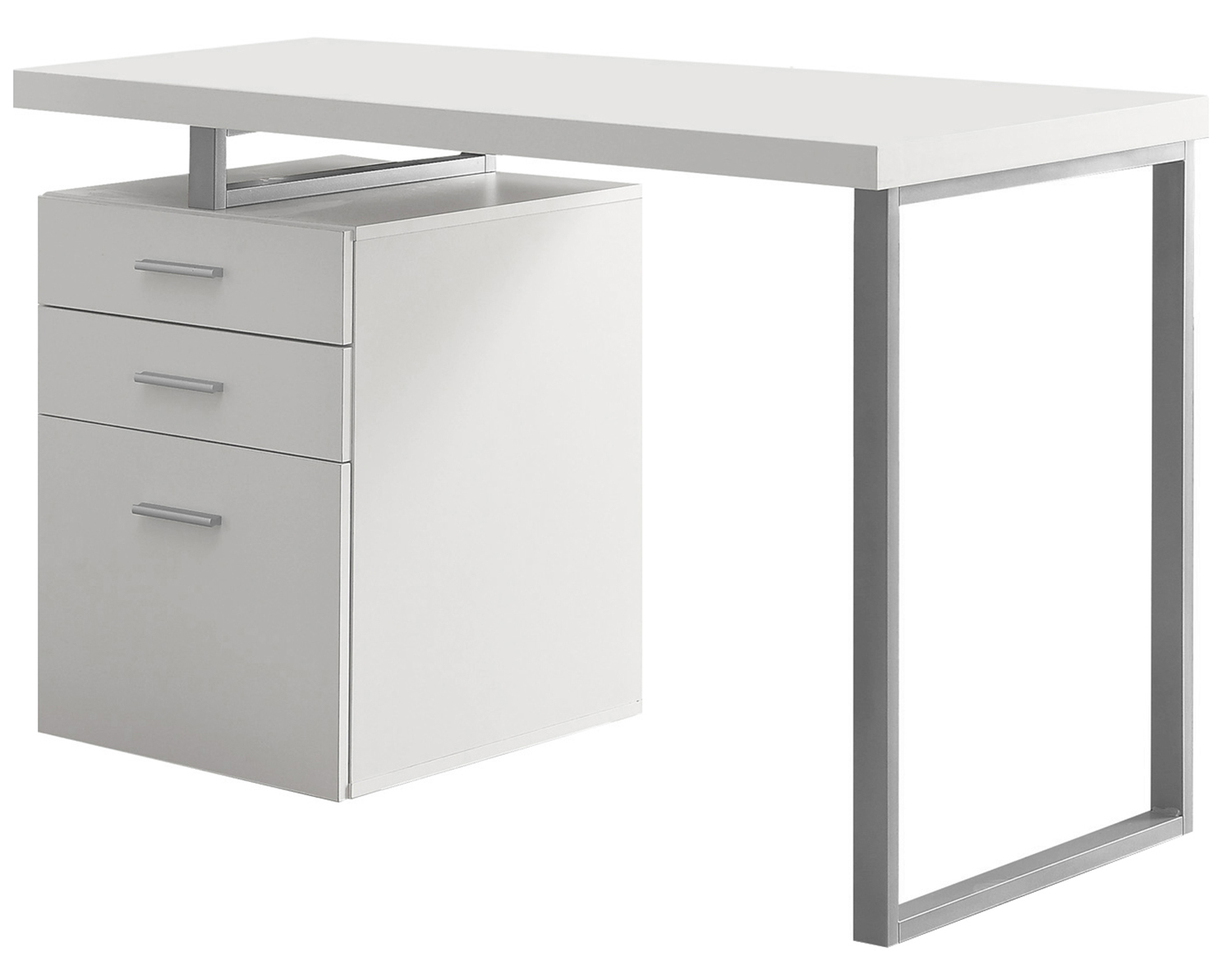 "48"" Left Or Right Facing Hollow-Core Computer Desk, White"