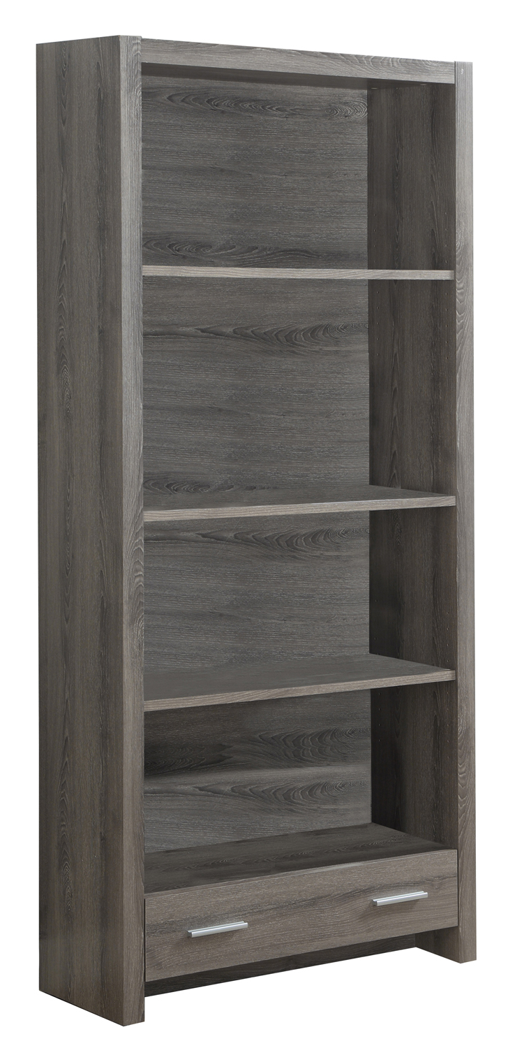 "Bookcase - 71""H / Dark Taupe With A Storage Drawer"