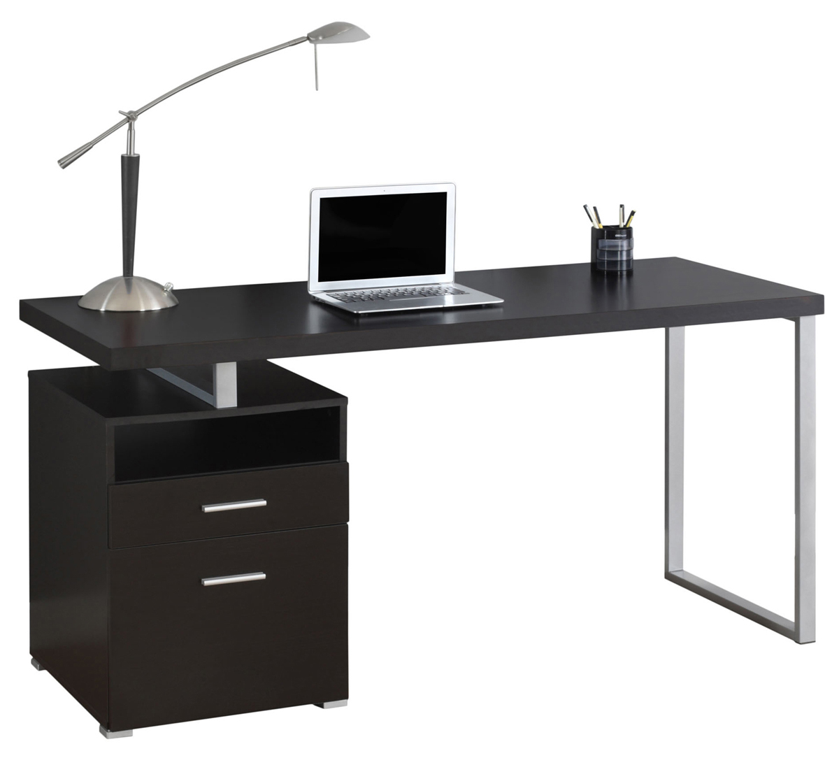 "60"" Computer Desk, Silver Metal Legs and Cappuccino Top"