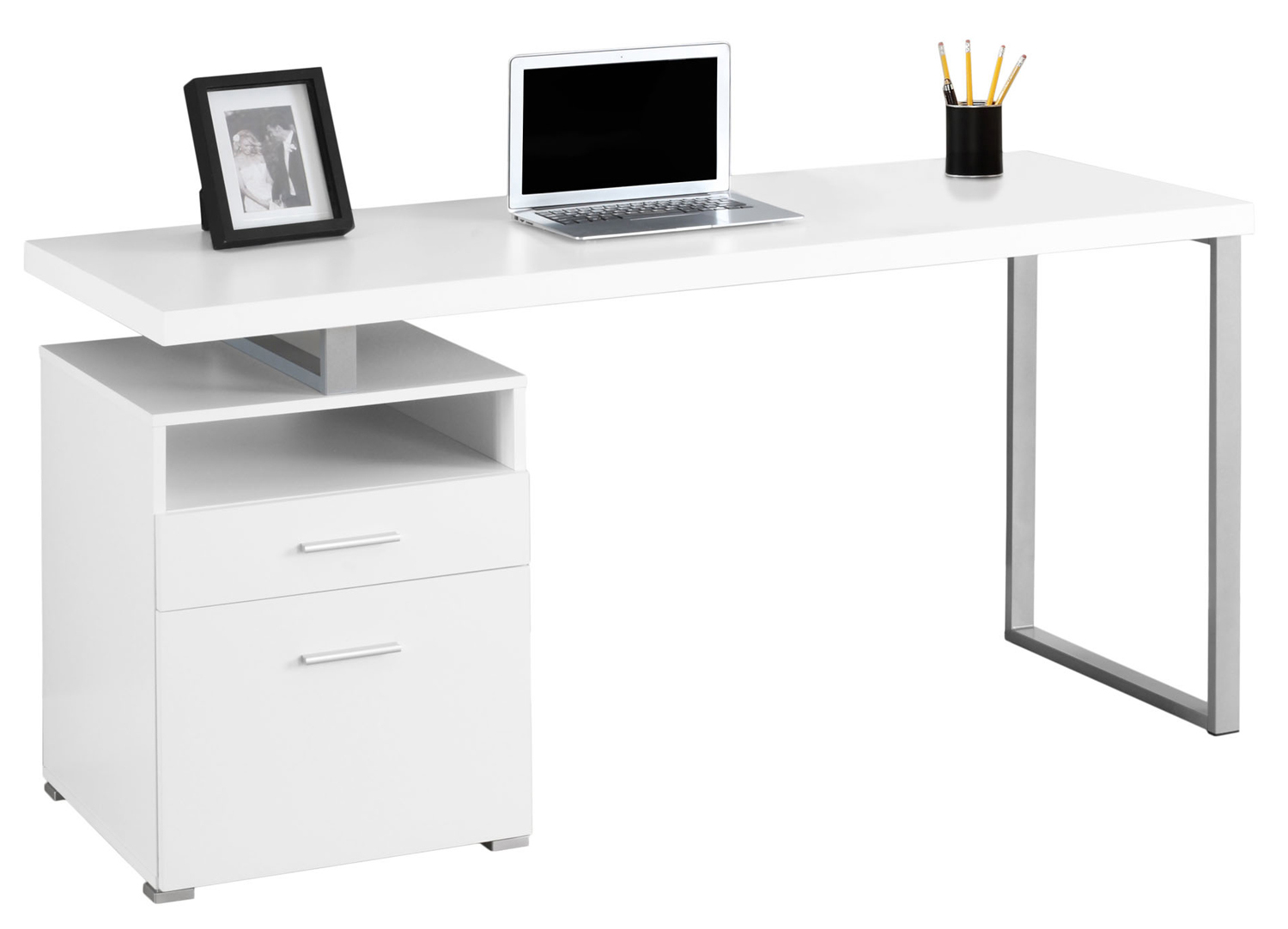 "60"" Computer Desk, Silver Metal Legs and White Top"
