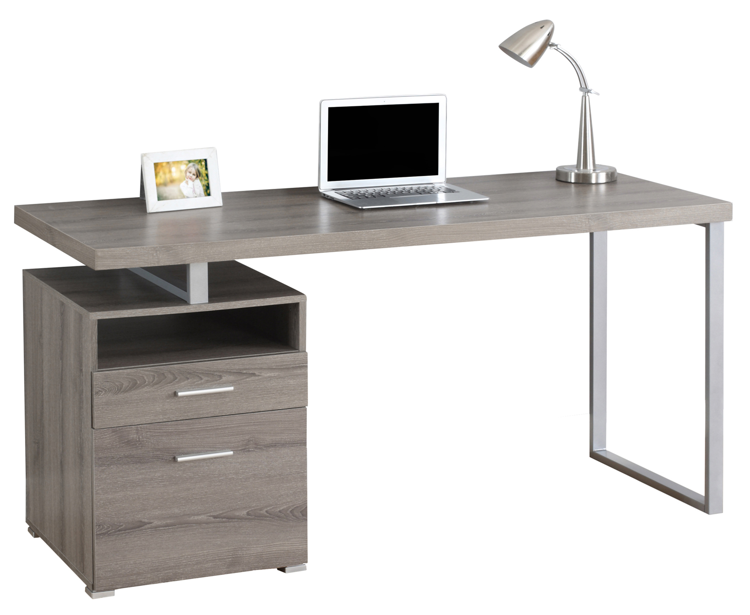 "60"" Computer Desk, Silver Metal Legs and Dark Taupe Top"