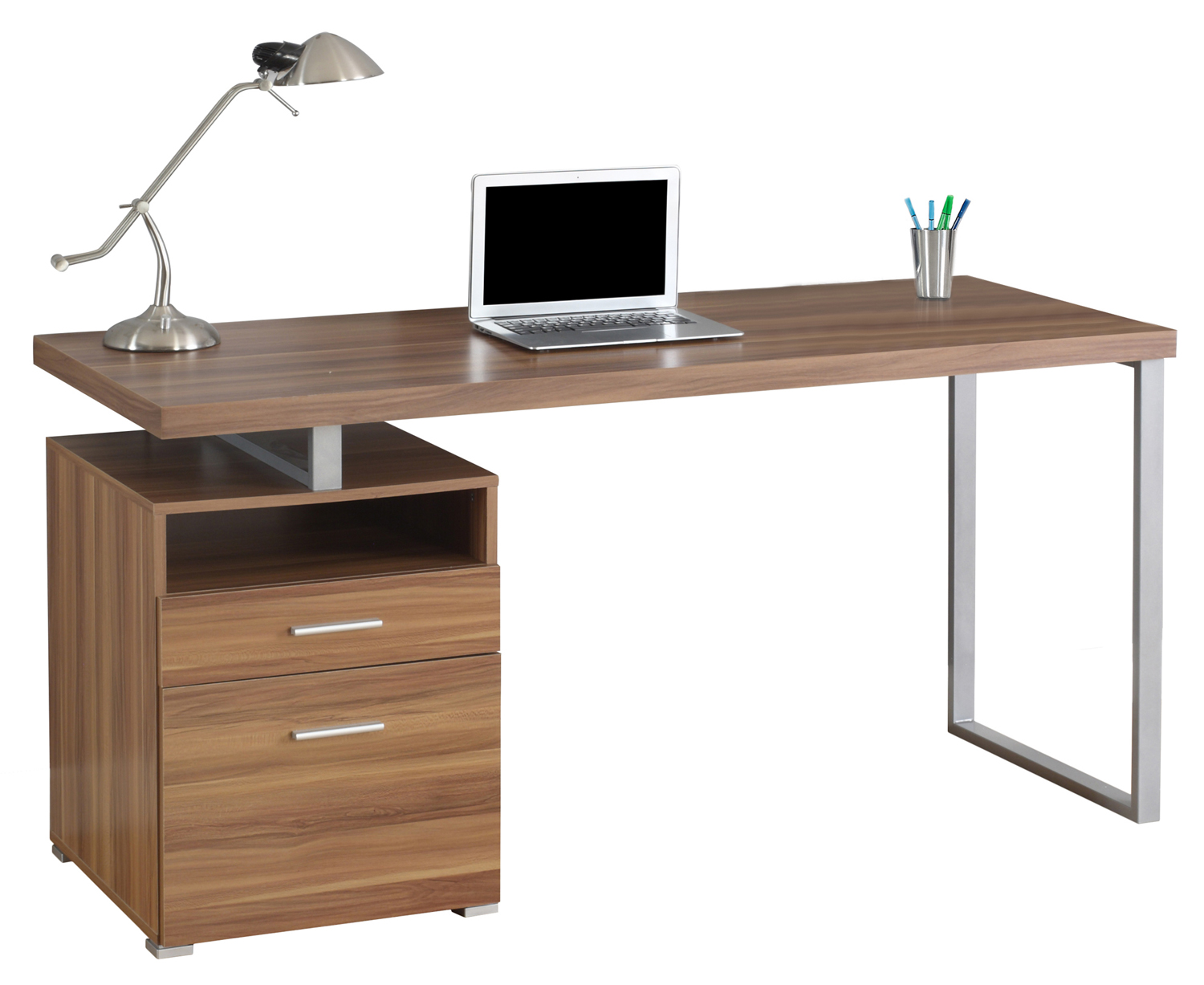"60"" Computer Desk, Silver Metal Legs and Walnut Top"