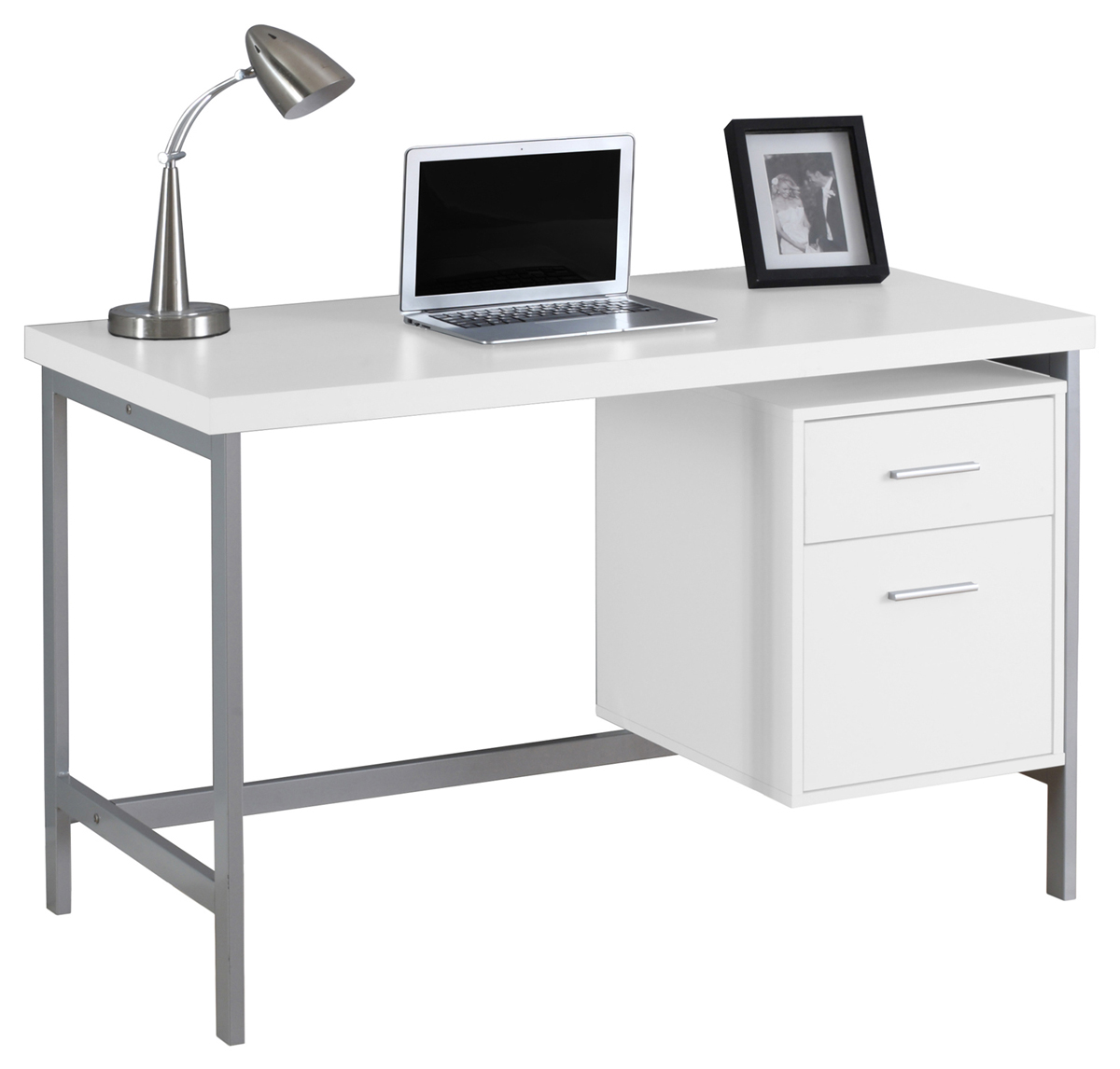 "48"" Computer Desk with Storage Drawers, Chrome Metal and White"