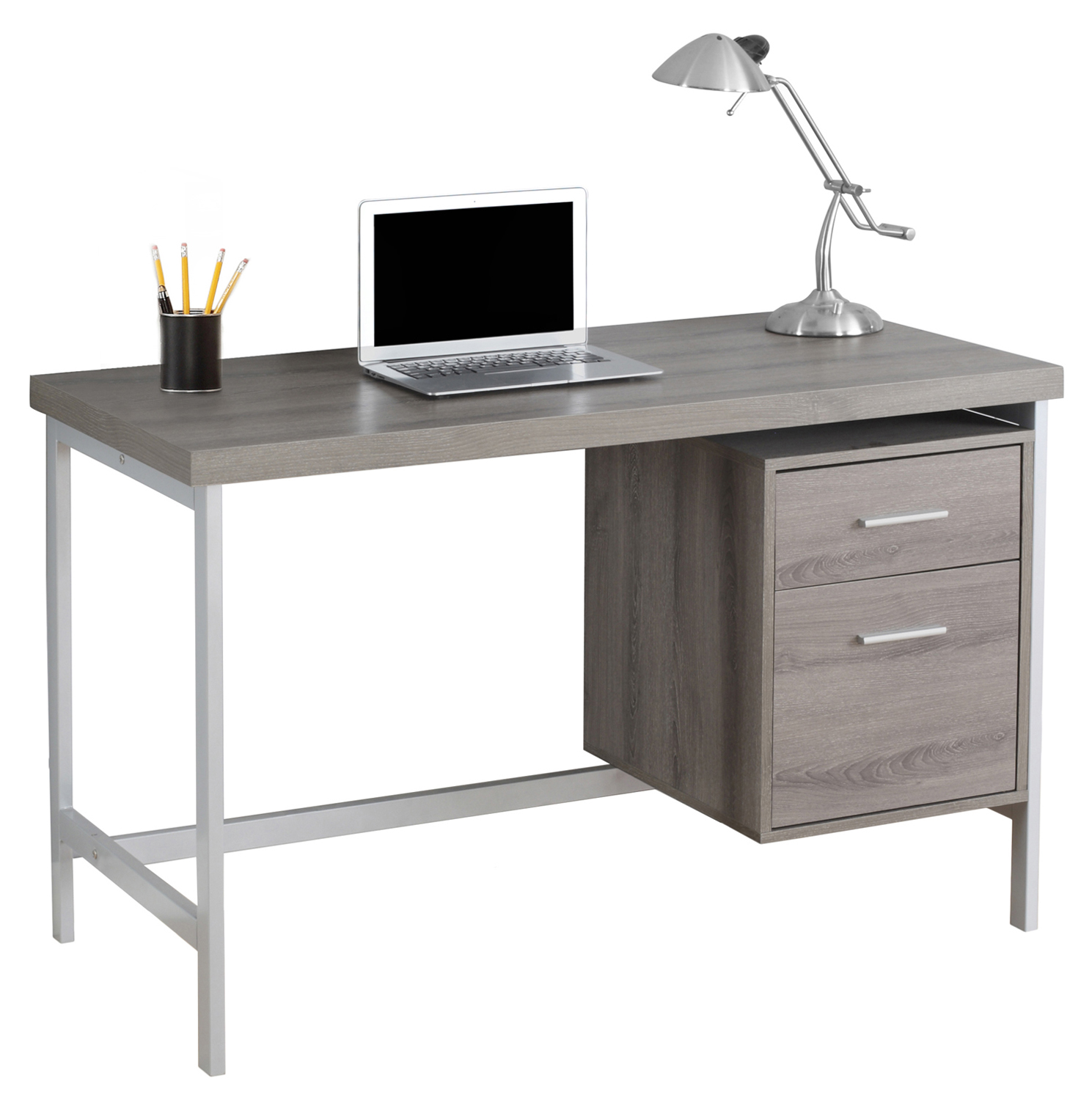 "48"" Computer Desk with Storage Drawers, Chrome Metal and Dark Taupe"
