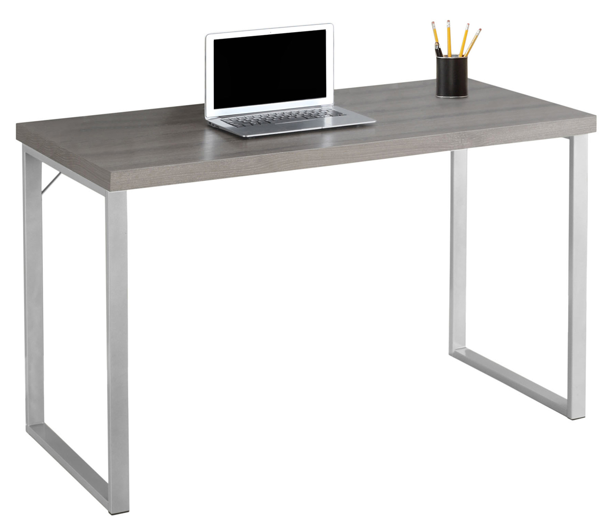 "48"" Computer Desk with Silver Metal Base and Dark Taupe Top"
