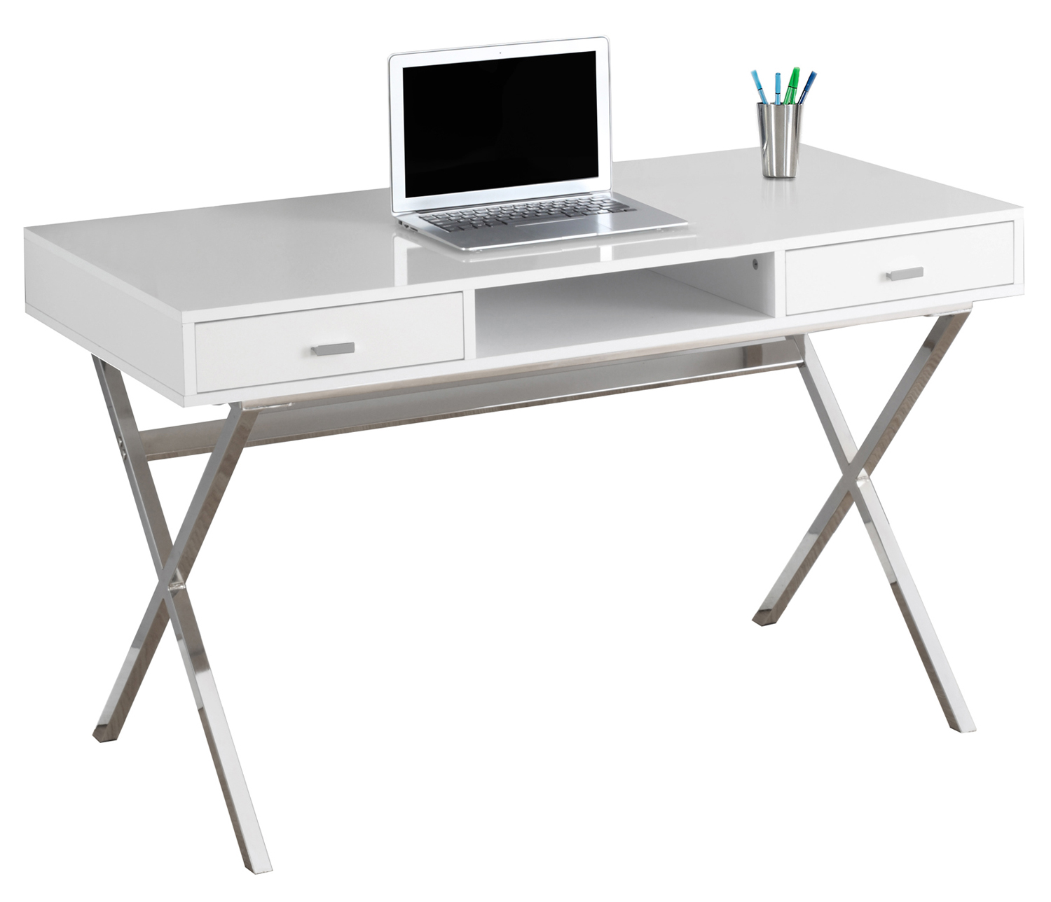 "48"" Computer Desk with Storage Drawers, Chrome Metal and Glossy White"