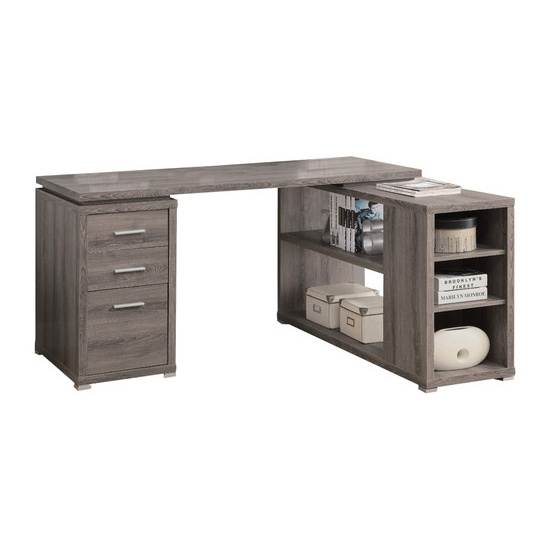 "Hollow-Core ""L"" Shaped Computer Desk, Left Or Right Facing, Dark Taupe"