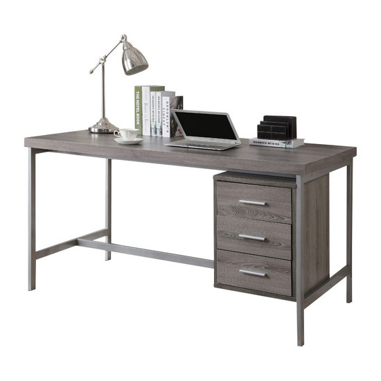 "60""L Hollow-Core Computer Desk, Dark Taupe with Silver Metal Base"
